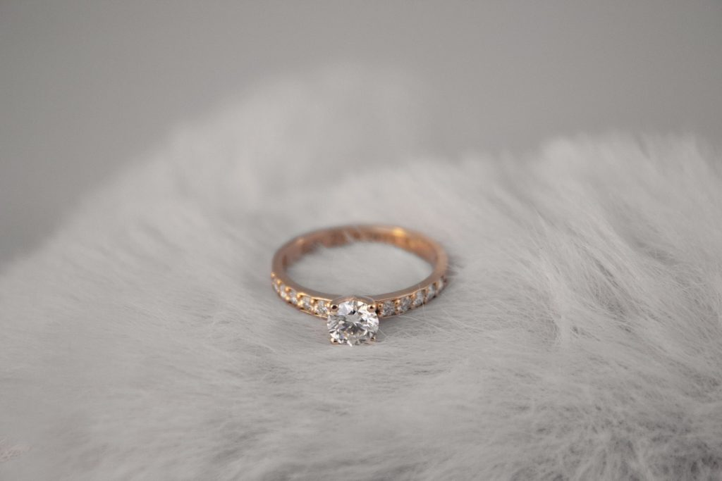 Rose Gold channel setting solitaire lab diamond ring