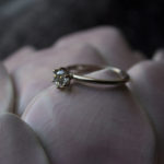18K White Gold Diamond solitaire thin band