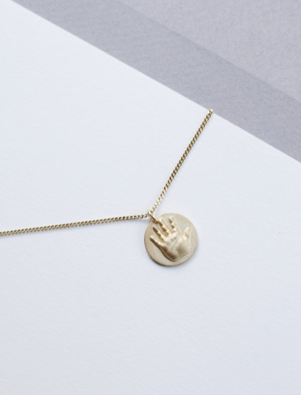 3D scanned Yellow Gold hand pendant