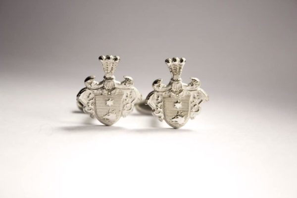 silver cufflinks with coat of arms