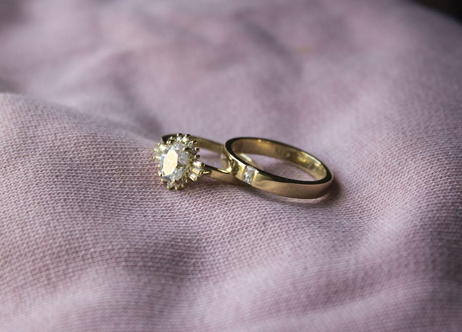 yellow gold halo setting baguettes moissanite ring