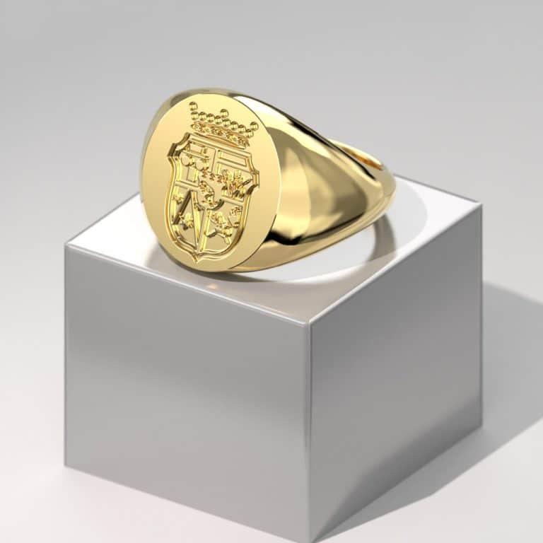 TIDAN - Yellow Gold Round Signet Coat of arms Rendering