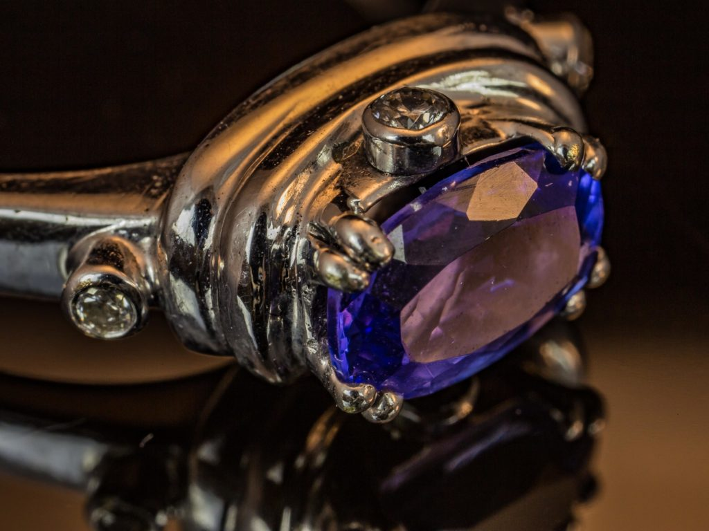 Close-up picture of tanzanite gemstone silver ring.