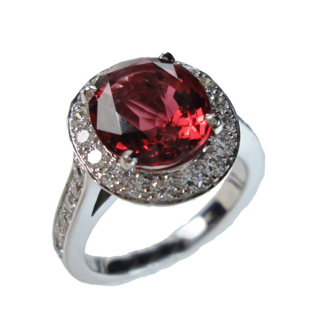 A picture of a spinel gemstone silver ring.