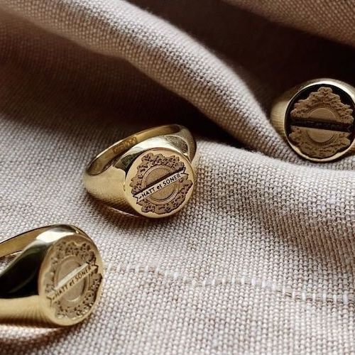 Custom 9K gold signet rings