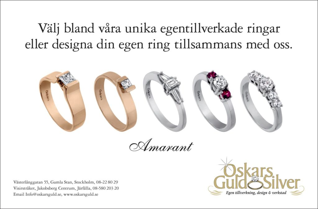 Oskar´s Gold & Silver: choose from our self-made rings or design your own ring with us. Best goldsmiths in stockholm