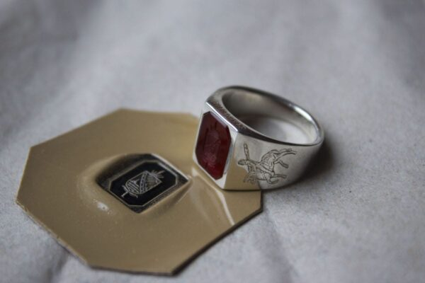 Octagonal signet ring with hand engraved Carnelian